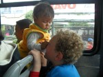 Vaughn and baby on bus