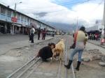 Woman selling goat milk on train tracks.