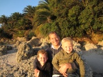 Bo and boys at sunset on the Rio de la Plata beach